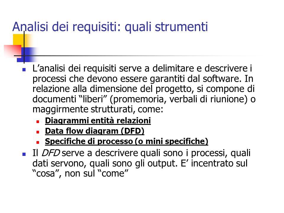 Analisi dei requisiti: quali strumenti Lanalisi dei requisiti serve a delimitare e descrivere i processi che devono essere garantiti dal software. In