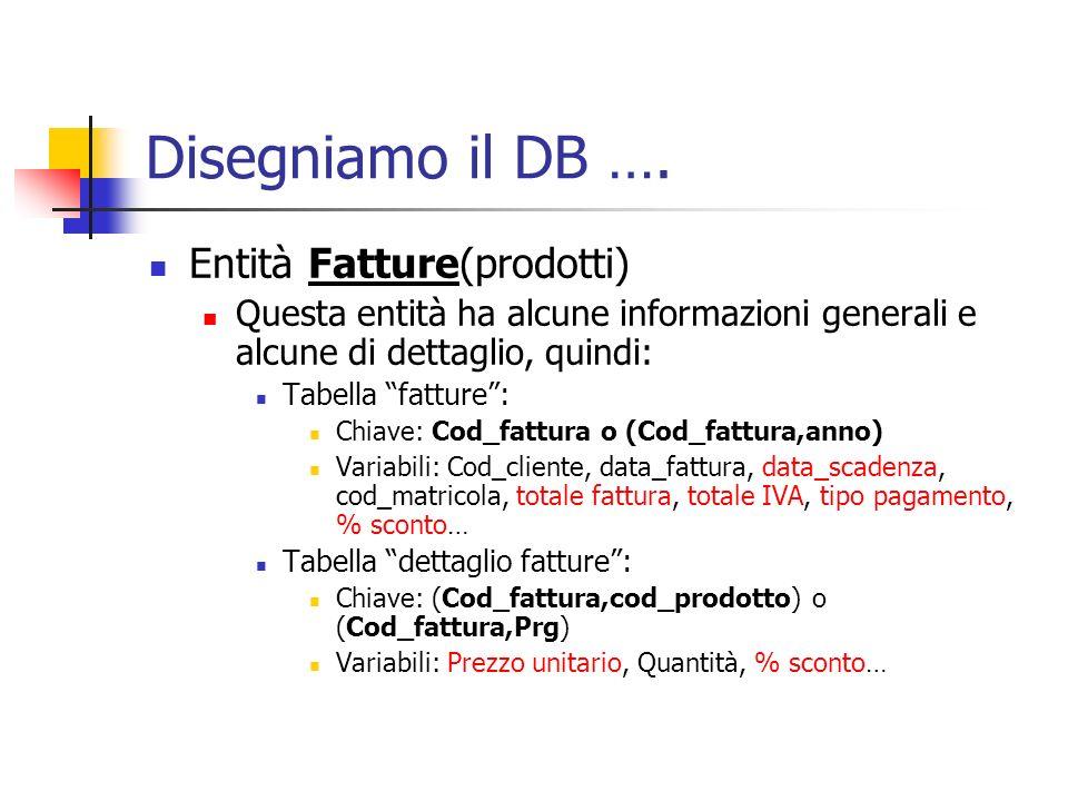 Disegniamo il DB …. Entità Fatture(prodotti) Questa entità ha alcune informazioni generali e alcune di dettaglio, quindi: Tabella fatture: Chiave: Cod