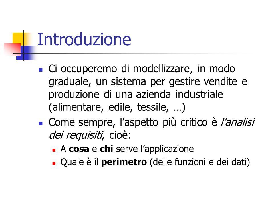 Introduzione Ci occuperemo di modellizzare, in modo graduale, un sistema per gestire vendite e produzione di una azienda industriale (alimentare, edil