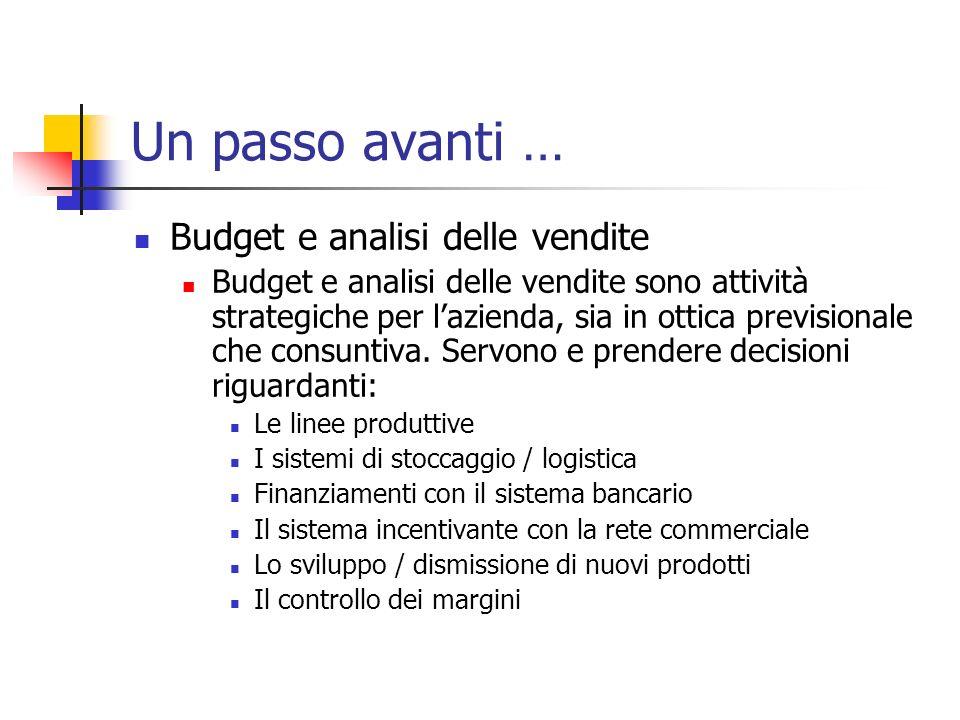 Un passo avanti … Budget e analisi delle vendite Budget e analisi delle vendite sono attività strategiche per lazienda, sia in ottica previsionale che