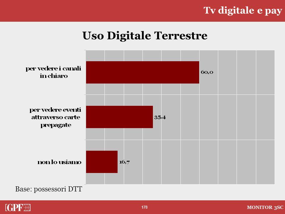 178 MONITOR 3SC Tv digitale e pay Uso Digitale Terrestre Base: possessori DTT