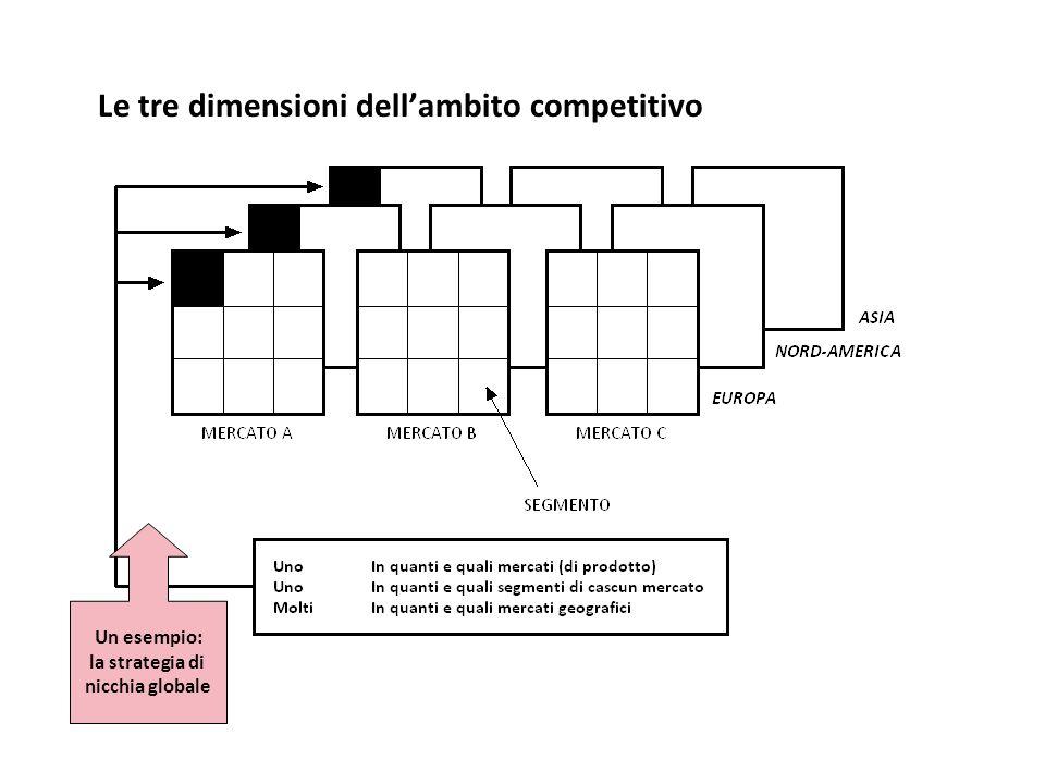 Le tre dimensioni dellambito competitivo Un esempio: la strategia di nicchia globale