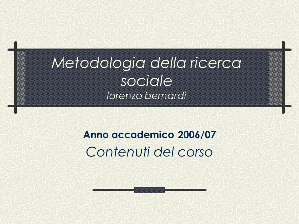 Metodologia della ricerca sociale lorenzo bernardi Anno accademico 2006/07 Contenuti del corso