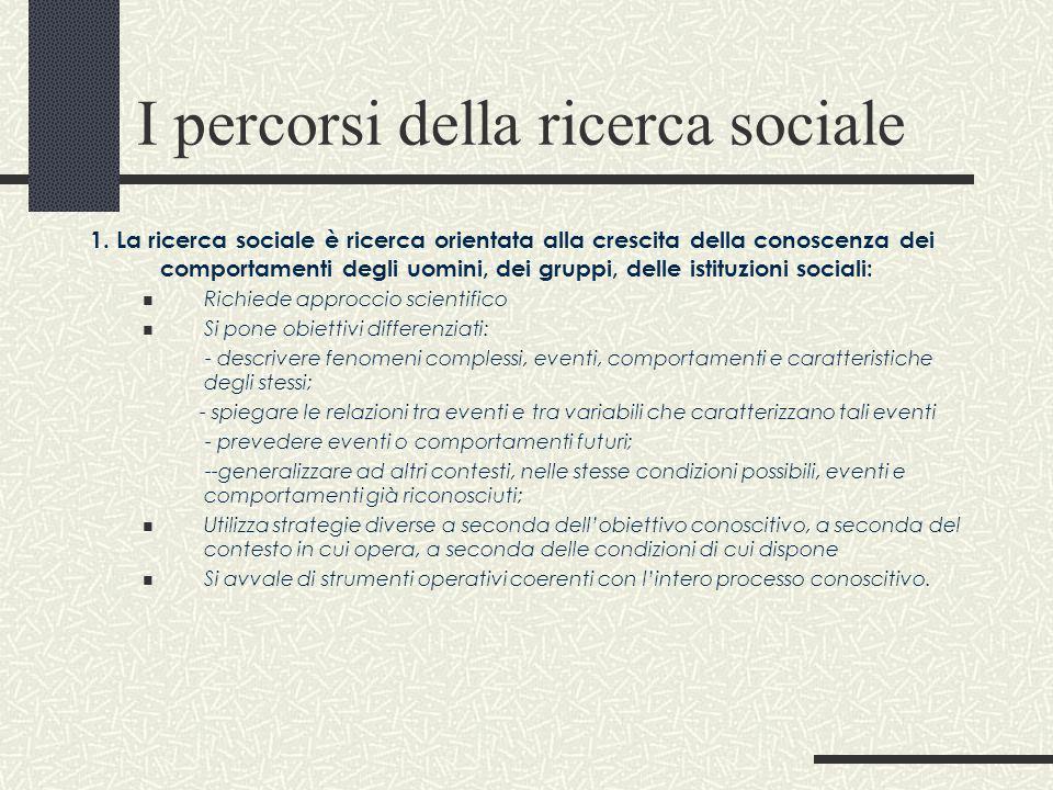 I percorsi della ricerca sociale 1. La ricerca sociale è ricerca orientata alla crescita della conoscenza dei comportamenti degli uomini, dei gruppi,