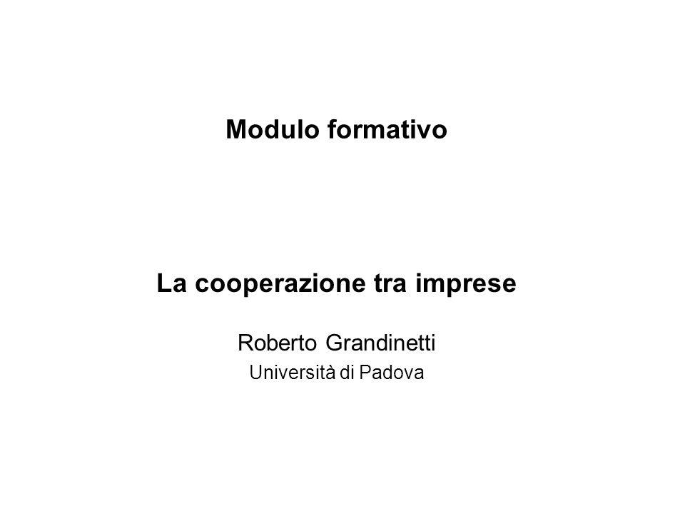 Modulo formativo La cooperazione tra imprese Roberto Grandinetti Università di Padova