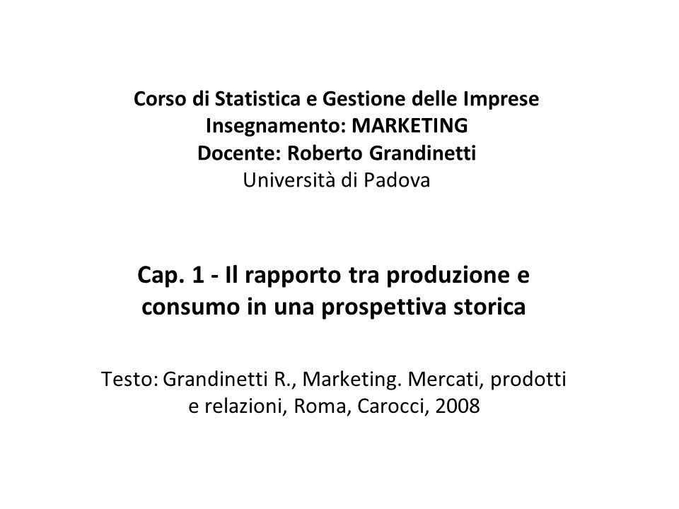 Corso di Statistica e Gestione delle Imprese Insegnamento: MARKETING Docente: Roberto Grandinetti Università di Padova Cap. 1 - Il rapporto tra produz