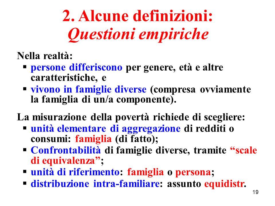 19 2. Alcune definizioni: Questioni empiriche Nella realtà: persone differiscono per genere, età e altre caratteristiche, e vivono in famiglie diverse