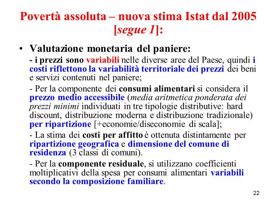 22 Povertà assoluta – nuova stima Istat dal 2005 [segue 1]: Valutazione monetaria del paniere: - i prezzi sono variabili nelle diverse aree del Paese,