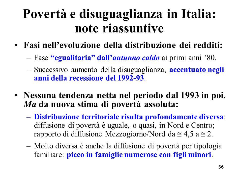 36 Fasi nellevoluzione della distribuzione dei redditi: –Fase egualitaria dallautunno caldo ai primi anni 80. –Successivo aumento della disuguaglianza