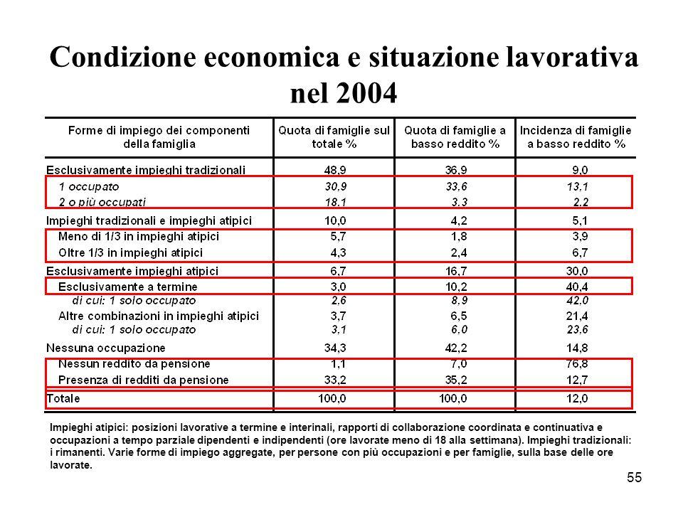 55 Condizione economica e situazione lavorativa nel 2004 Impieghi atipici: posizioni lavorative a termine e interinali, rapporti di collaborazione coo