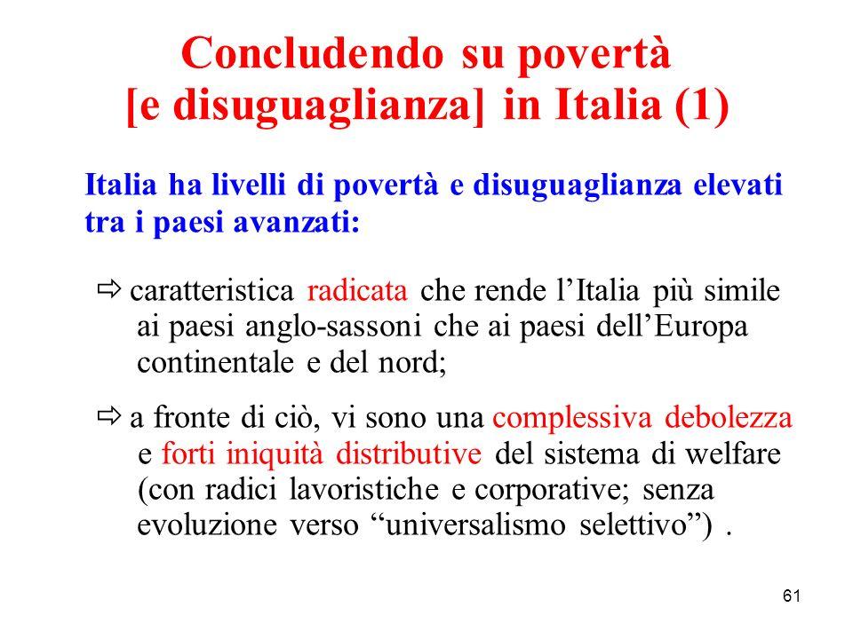 61 Concludendo su povertà [e disuguaglianza] in Italia (1) Italia ha livelli di povertà e disuguaglianza elevati tra i paesi avanzati: caratteristica