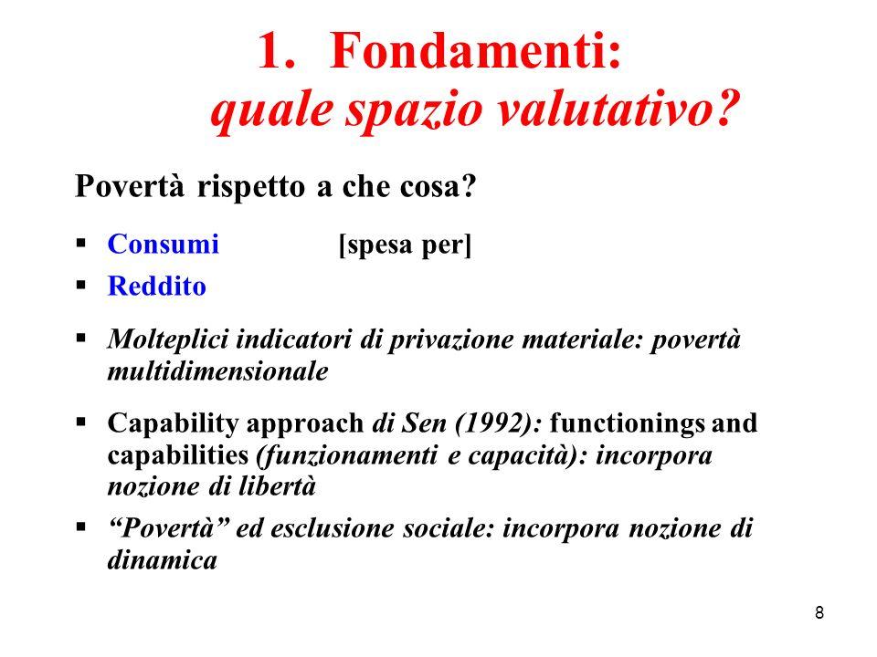 8 1.Fondamenti: quale spazio valutativo? Povertà rispetto a che cosa? Consumi[spesa per] Reddito Molteplici indicatori di privazione materiale: povert