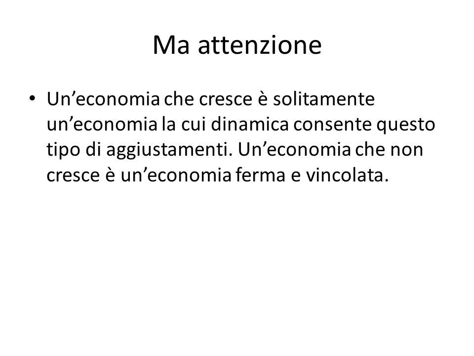 Ma attenzione Uneconomia che cresce è solitamente uneconomia la cui dinamica consente questo tipo di aggiustamenti.