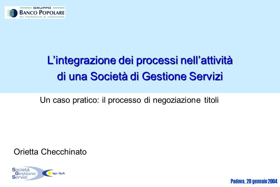 Padova, 20 gennaio 2004 Lintegrazione dei processi nellattività di una Società di Gestione Servizi Un caso pratico: il processo di negoziazione titoli Orietta Checchinato