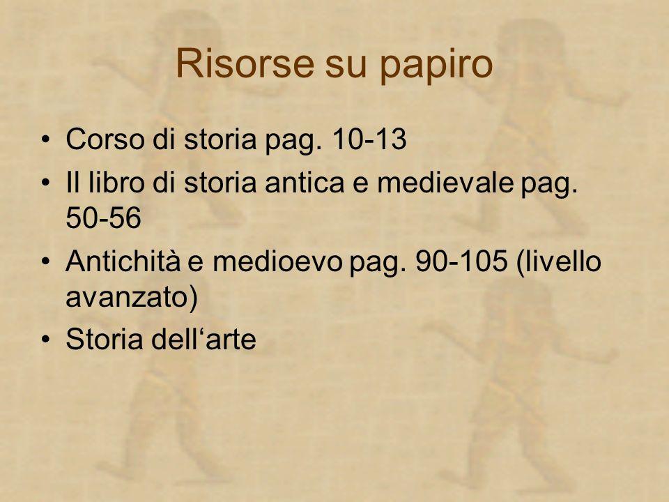 Risorse su papiro Corso di storia pag. 10-13 Il libro di storia antica e medievale pag. 50-56 Antichità e medioevo pag. 90-105 (livello avanzato) Stor