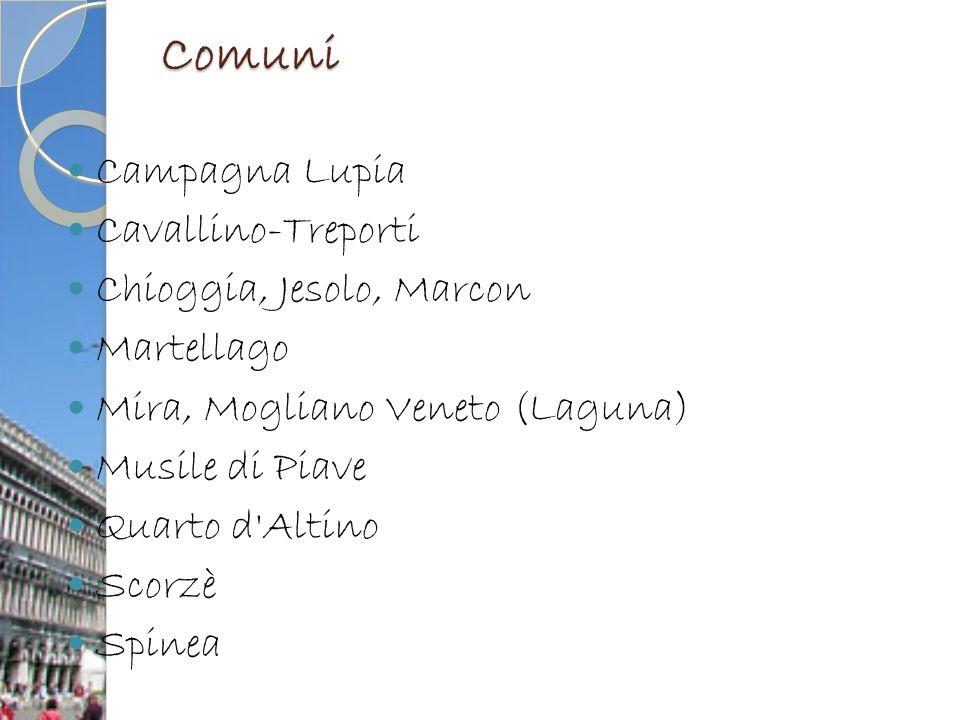 Comuni Campagna Lupia Cavallino-Treporti Chioggia, Jesolo, Marcon Martellago Mira, Mogliano Veneto (Laguna) Musile di Piave Quarto d'Altino Scorzè Spi