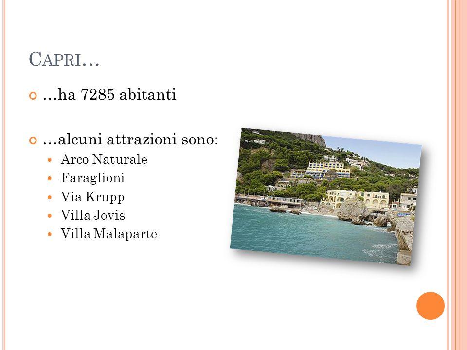 C APRI … …ha 7285 abitanti …alcuni attrazioni sono: Arco Naturale Faraglioni Via Krupp Villa Jovis Villa Malaparte
