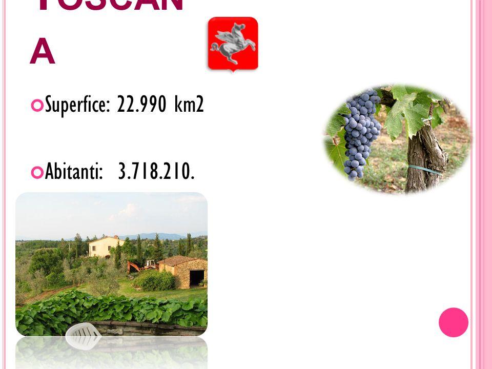 T OSCAN A Superfice: 22.990 km2 Abitanti: 3.718.210.