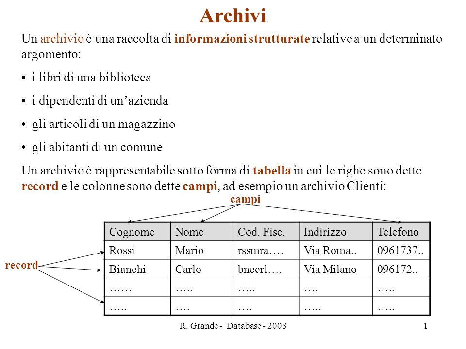 R. Grande - Database - 2008 1 Archivi Un archivio è una raccolta di informazioni strutturate relative a un determinato argomento: i libri di una bibli