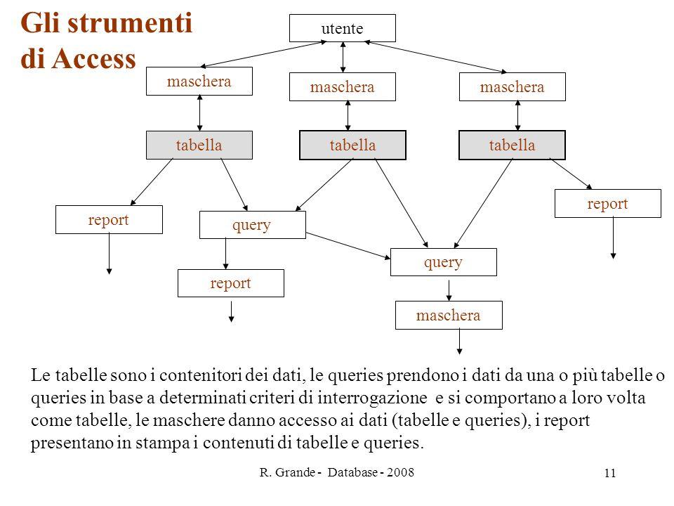 R. Grande - Database - 2008 11 tabella query utente maschera report maschera Le tabelle sono i contenitori dei dati, le queries prendono i dati da una