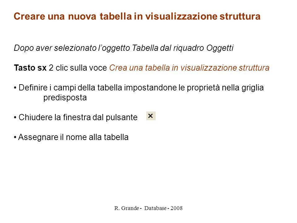 R. Grande - Database - 2008 Creare una nuova tabella in visualizzazione struttura Dopo aver selezionato loggetto Tabella dal riquadro Oggetti Tasto sx