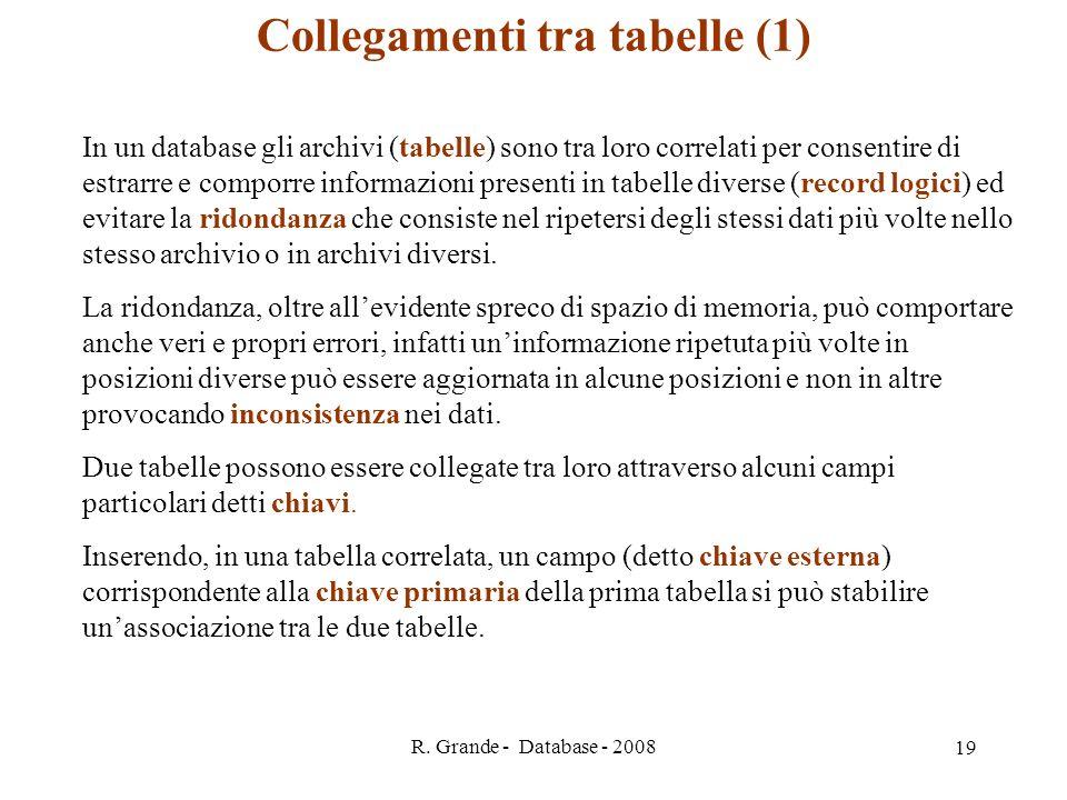 R. Grande - Database - 2008 19 Collegamenti tra tabelle (1) In un database gli archivi (tabelle) sono tra loro correlati per consentire di estrarre e