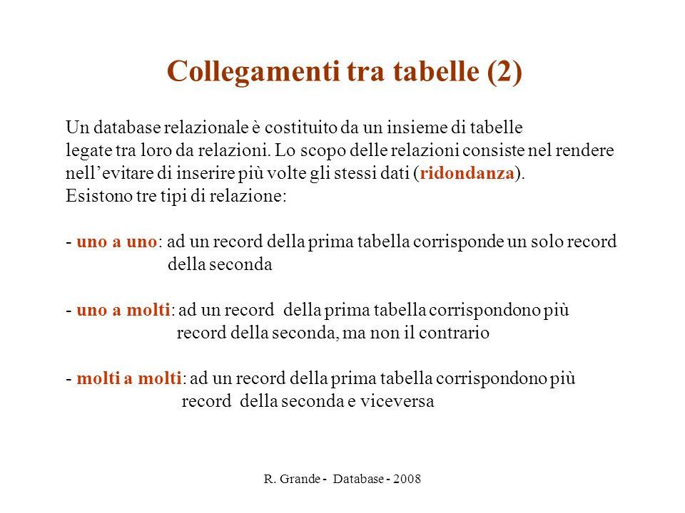 R. Grande - Database - 2008 Collegamenti tra tabelle (2) Un database relazionale è costituito da un insieme di tabelle legate tra loro da relazioni. L