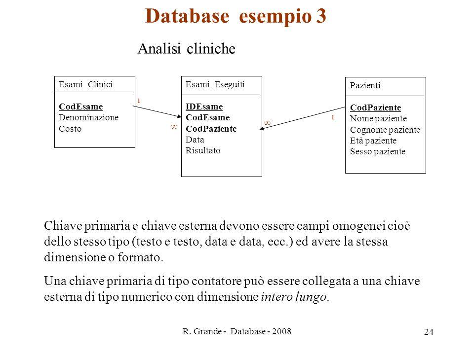R. Grande - Database - 2008 24 Esami_Clinici CodEsame Denominazione Costo Esami_Eseguiti IDEsame CodEsame CodPaziente Data Risultato Pazienti CodPazie