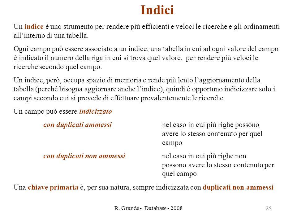R. Grande - Database - 2008 25 Indici Un indice è uno strumento per rendere più efficienti e veloci le ricerche e gli ordinamenti allinterno di una ta