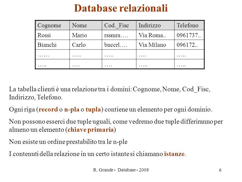 R. Grande - Database - 2008 6 Database relazionali CognomeNomeCod._FiscIndirizzoTelefono RossiMariorssmra….Via Roma..0961737.. BianchiCarlobnccrl….Via
