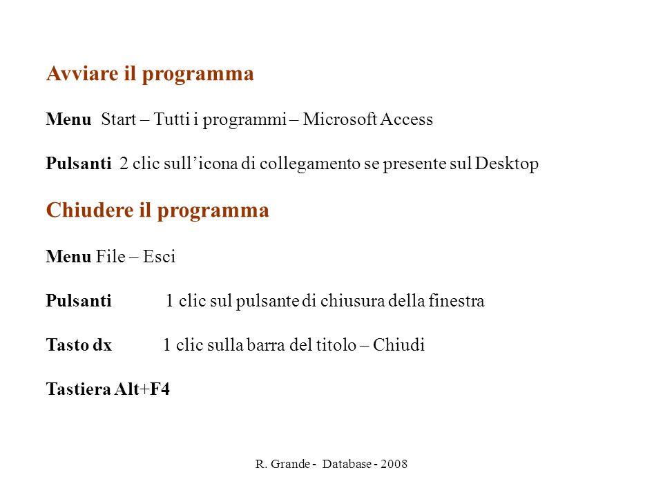 R. Grande - Database - 2008 Avviare il programma Menu Start – Tutti i programmi – Microsoft Access Pulsanti 2 clic sullicona di collegamento se presen