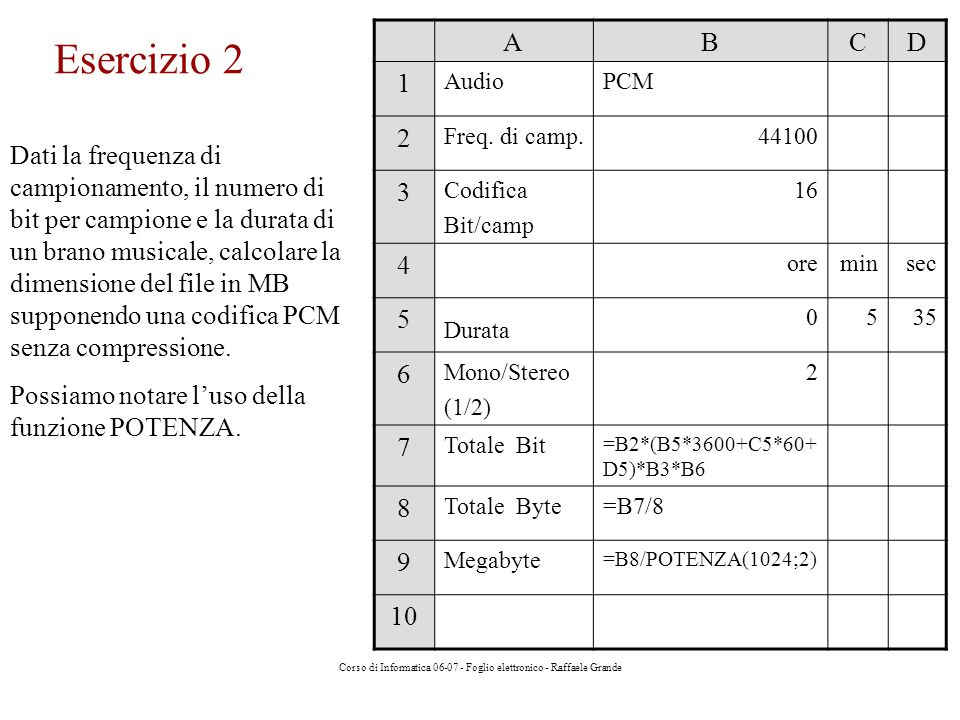 Corso di Informatica 06-07 - Foglio elettronico - Raffaele Grande Esercizio 2 Dati la frequenza di campionamento, il numero di bit per campione e la durata di un brano musicale, calcolare la dimensione del file in MB supponendo una codifica PCM senza compressione.
