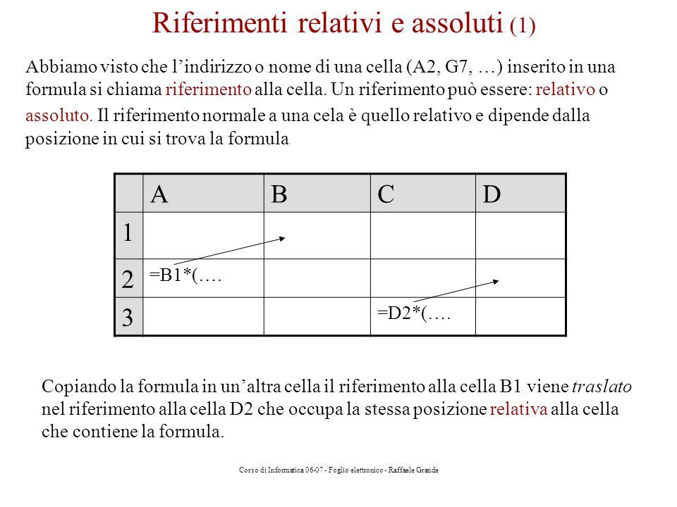 Corso di Informatica 06-07 - Foglio elettronico - Raffaele Grande Esercizio 4 Dati i coefficienti a, b, c di unequazione di 2° grado, calcolare le soluzioni AB 1 coefficienti 2 a3 3 b1 4 c2 5 delta=POTENZA(B3;2) - 4*B2*B4 6 7 soluzione1 =SE(B5>=0;-B3+RADQ(B5); soluzione non reale ) 8 soluzione2 =SE(B5>=0;-B3-RADQ(B5); soluzione non reale ) 9 Se delta >= 0 (se vero) nella cella viene calcolata la formula risolutiva dellequazione, altrimenti (se falso) viene scritto il testo soluzione non reale Esercizio 4