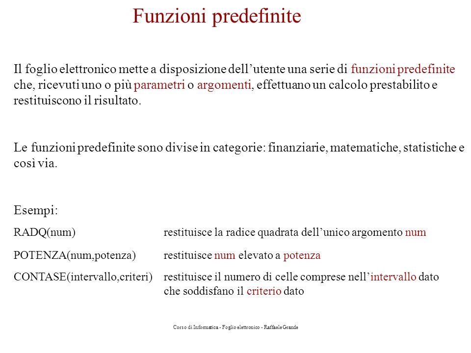 Corso di Informatica - Foglio elettronico - Raffaele Grande Funzioni predefinite Il foglio elettronico mette a disposizione dellutente una serie di fu