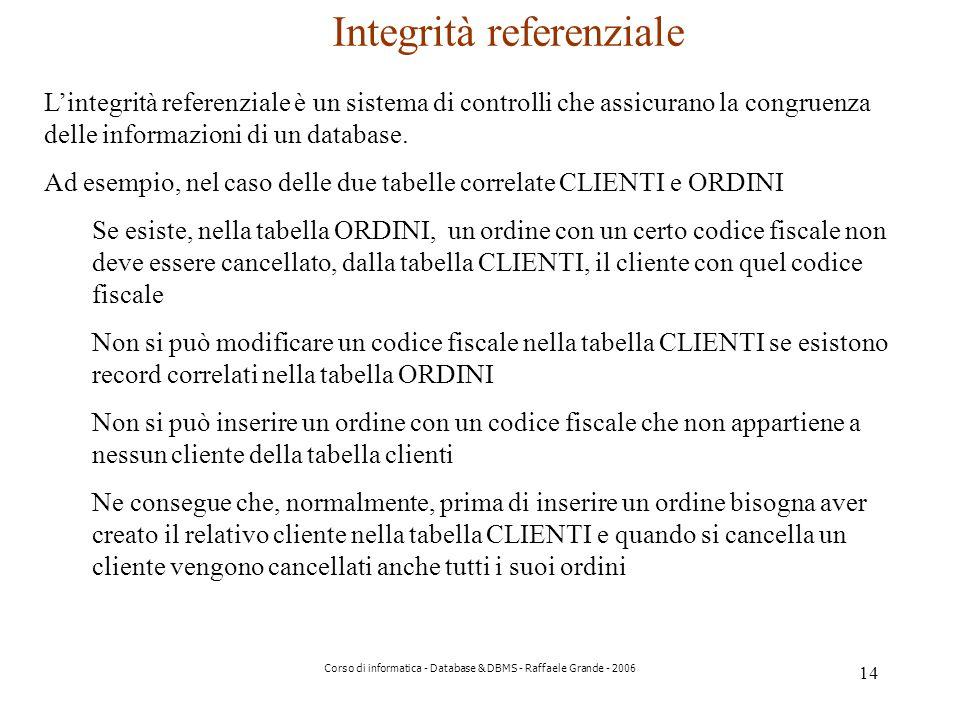 14 Corso di informatica - Database & DBMS - Raffaele Grande - 2006 Integrità referenziale Lintegrità referenziale è un sistema di controlli che assicurano la congruenza delle informazioni di un database.