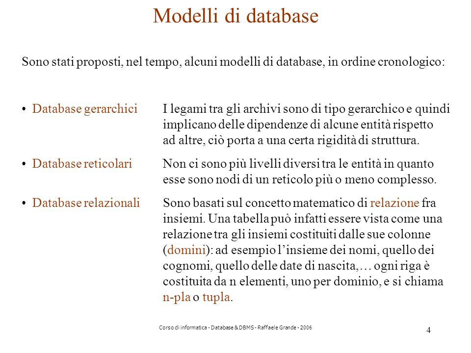 4 Corso di informatica - Database & DBMS - Raffaele Grande - 2006 Modelli di database Sono stati proposti, nel tempo, alcuni modelli di database, in ordine cronologico: Database gerarchiciI legami tra gli archivi sono di tipo gerarchico e quindi implicano delle dipendenze di alcune entità rispetto ad altre, ciò porta a una certa rigidità di struttura.