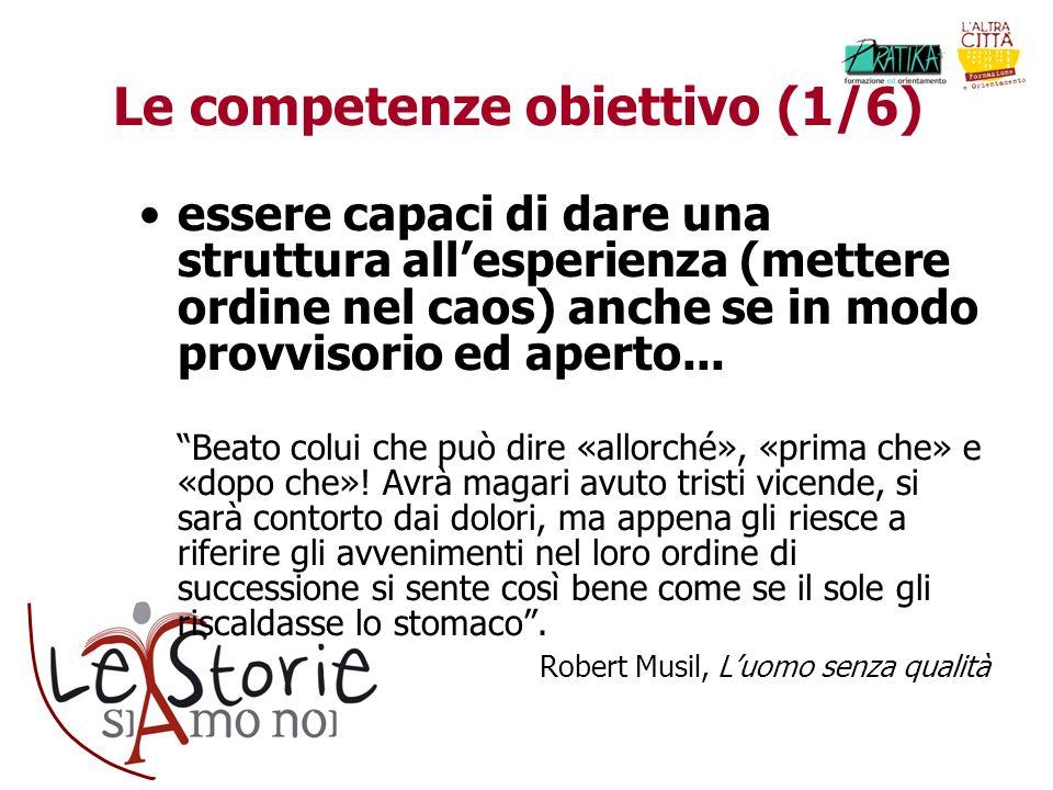 Le competenze obiettivo (1/6) essere capaci di dare una struttura allesperienza (mettere ordine nel caos) anche se in modo provvisorio ed aperto... Be