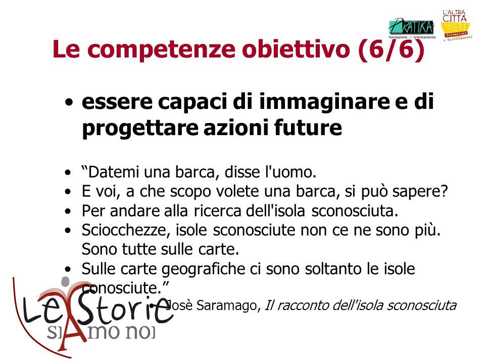 Le competenze obiettivo (6/6) essere capaci di immaginare e di progettare azioni future Datemi una barca, disse l'uomo. E voi, a che scopo volete una
