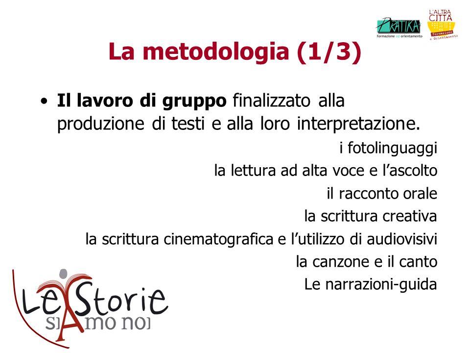 La metodologia (1/3) Il lavoro di gruppo finalizzato alla produzione di testi e alla loro interpretazione. i fotolinguaggi la lettura ad alta voce e l