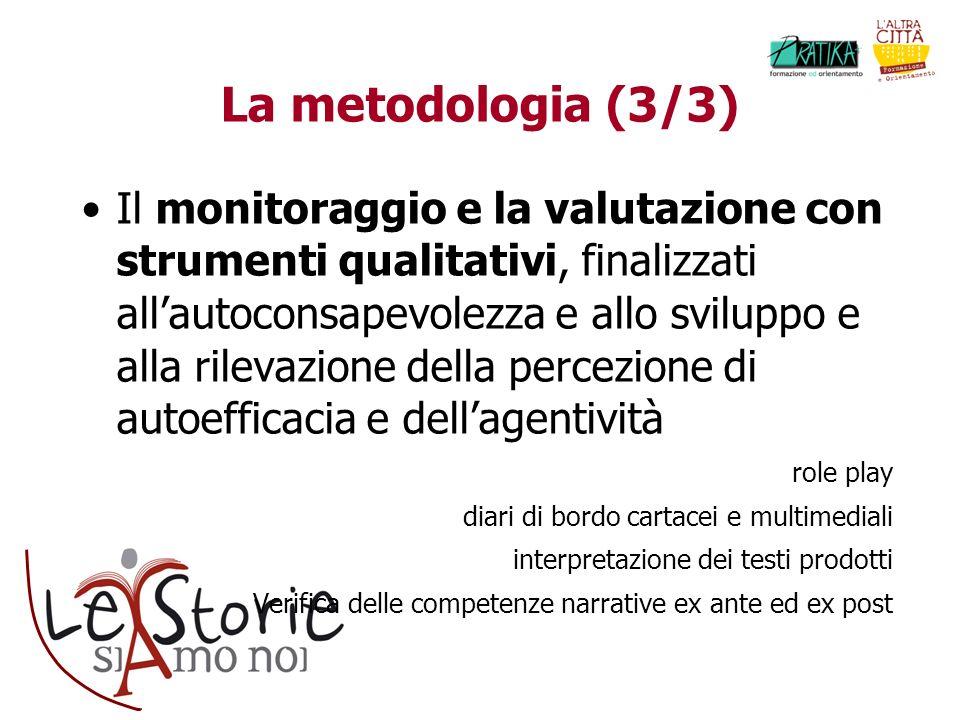La metodologia (3/3) Il monitoraggio e la valutazione con strumenti qualitativi, finalizzati allautoconsapevolezza e allo sviluppo e alla rilevazione