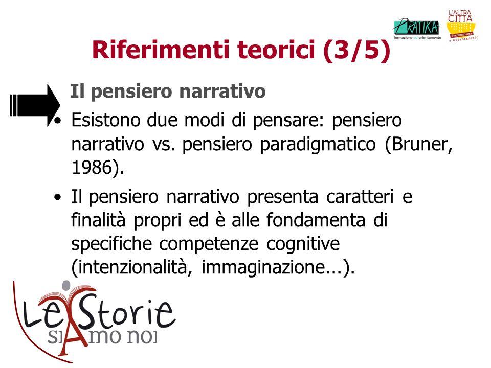 Riferimenti teorici (3/5) Il pensiero narrativo Esistono due modi di pensare: pensiero narrativo vs. pensiero paradigmatico (Bruner, 1986). Il pensier