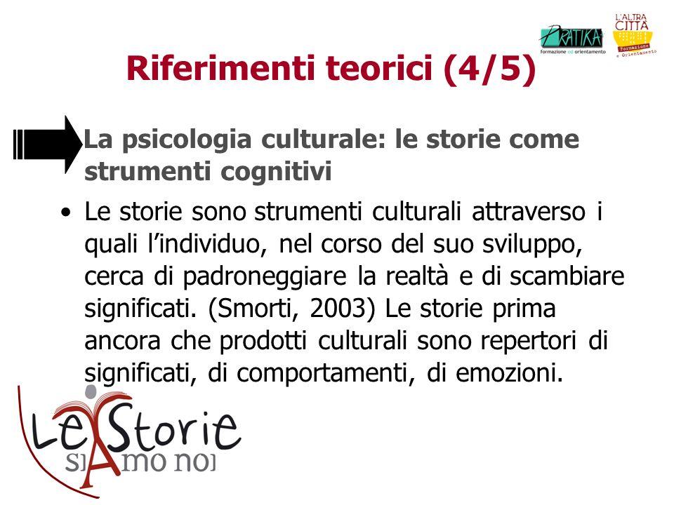 Riferimenti teorici (4/5) La psicologia culturale: le storie come strumenti cognitivi Le storie sono strumenti culturali attraverso i quali lindividuo