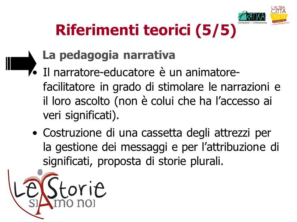 Riferimenti teorici (5/5) La pedagogia narrativa Il narratore-educatore è un animatore- facilitatore in grado di stimolare le narrazioni e il loro asc