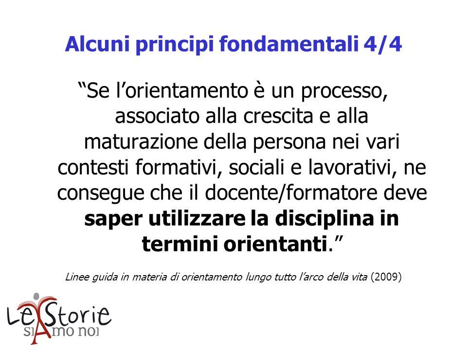 Alcuni principi fondamentali 4/4 Se lorientamento è un processo, associato alla crescita e alla maturazione della persona nei vari contesti formativi,