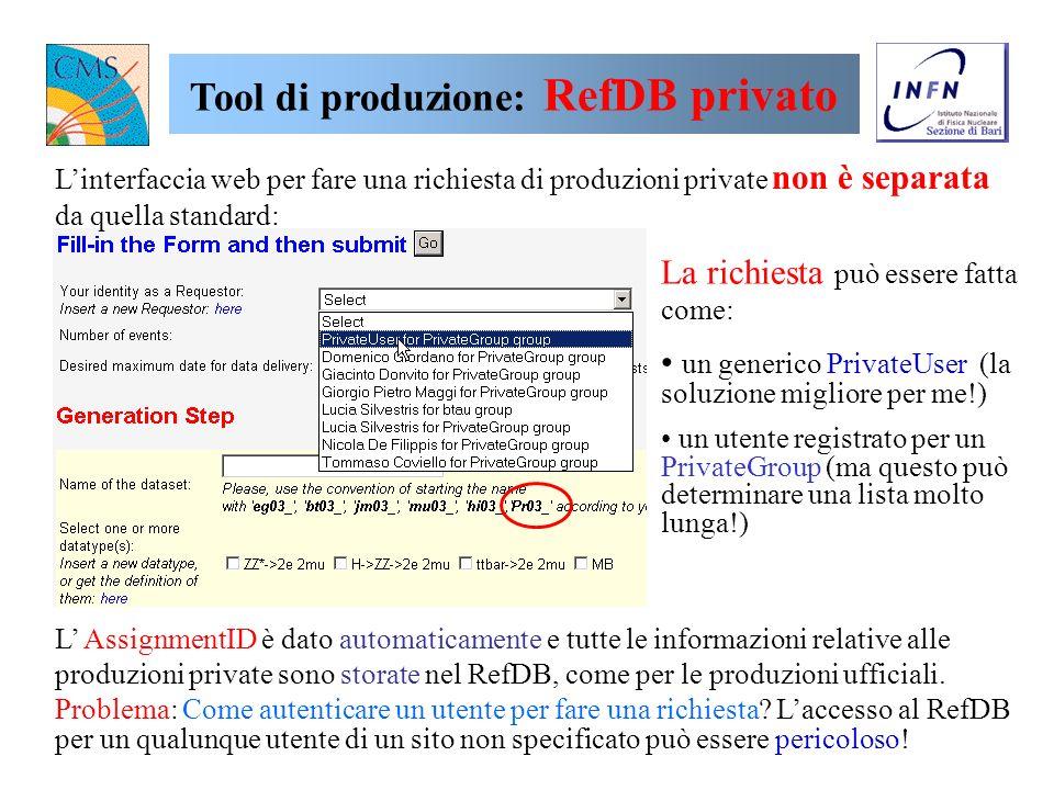Per quanto riguarda i tool di produzione abbiamo: installato un RefDB privato (reference database) per sviluppare una interfaccia web per produzioni p