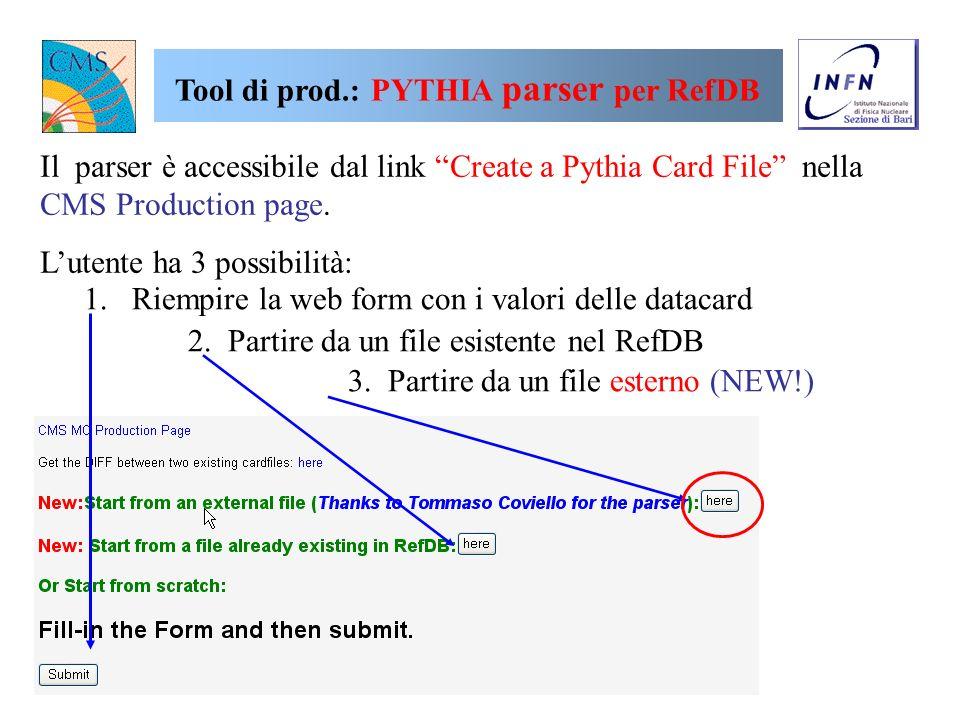 Tool di produzione: RefDB privato Linterfaccia web per fare una richiesta di produzioni private non è separata da quella standard: L AssignmentID è da