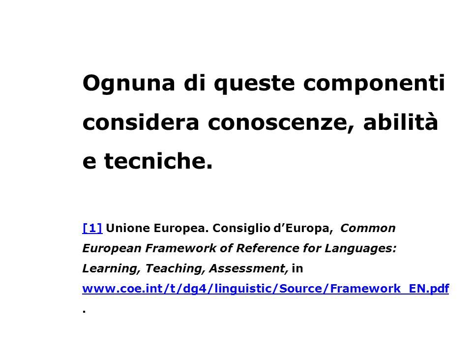 Ognuna di queste componenti considera conoscenze, abilità e tecniche. [1][1] Unione Europea. Consiglio dEuropa, Common European Framework of Reference