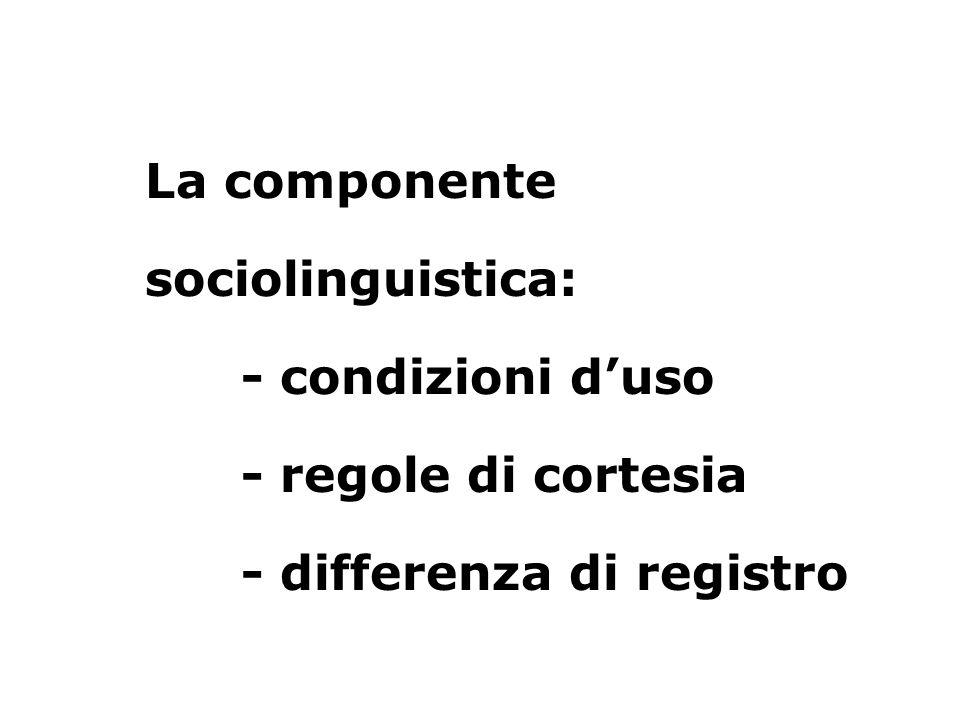 La componente sociolinguistica: - condizioni duso - regole di cortesia - differenza di registro