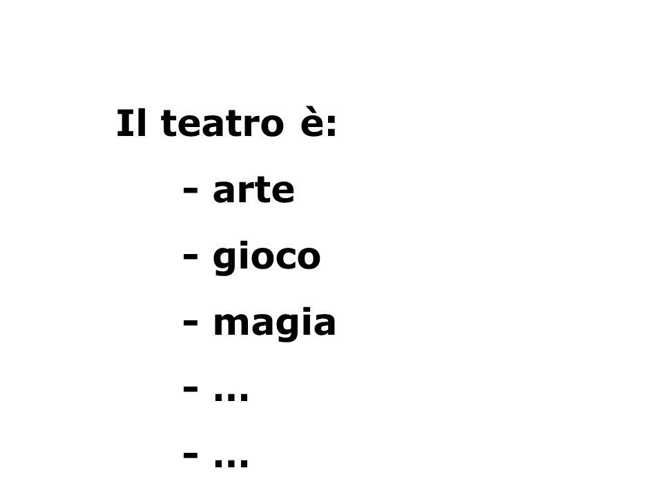 Il teatro è: - arte - gioco - magia - …