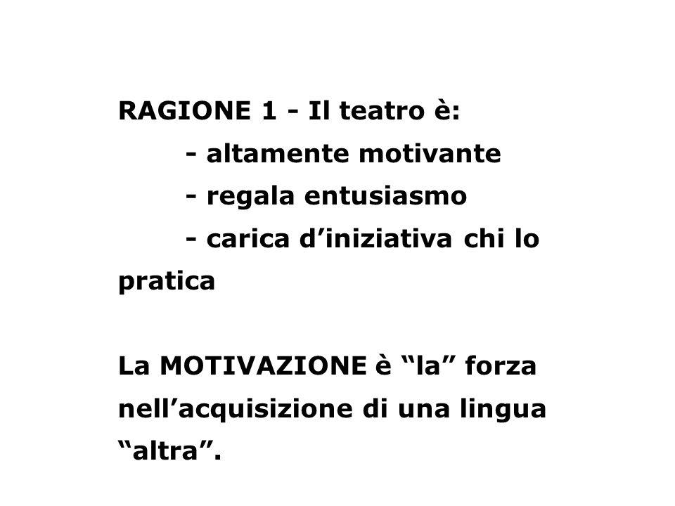 RAGIONE 1 - Il teatro è: - altamente motivante - regala entusiasmo - carica diniziativa chi lo pratica La MOTIVAZIONE è la forza nellacquisizione di u